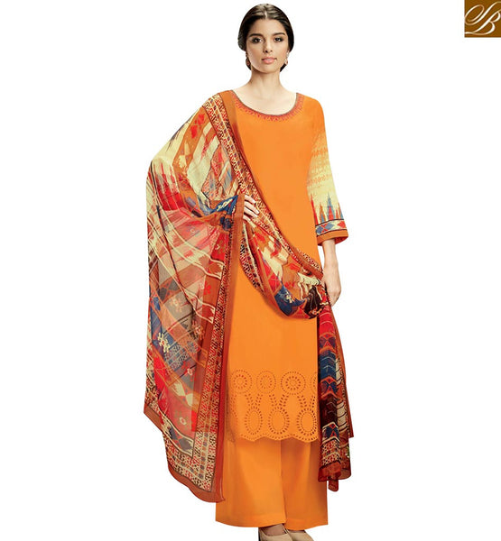 STYLISH BAZAAR ATTRACTIVE ORANGE COLOR TOP AND PLAZZO BOTTOM WITH MULTI COLOR DUPATTA KMV105