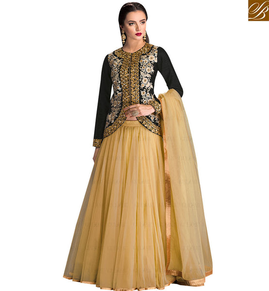 STYLISH BAZAAR MARVELLOUS BLACK COLORED DESIGNER LEHENGA WITH FLORAL WORK SLGLZ105