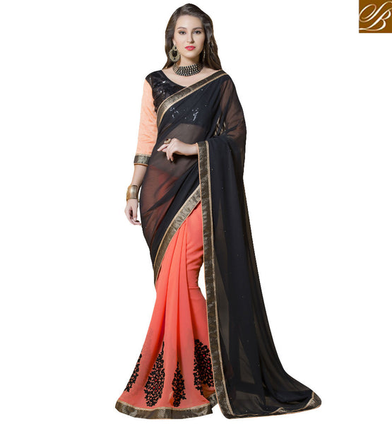 STYLISH BAZAAR MAGNIFICENT PEACH AND BLACK DESIGNER SAREE WITH SEQUENCE WORK RTANT105