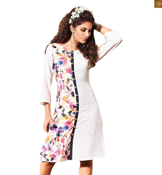 A STYLISH BAZAAR PRESENTATION PRETTY WHITE FLORAL PRINT KURTI DESIGN RTVIN105