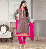 DRESSES-INDIAN-TRADITIONAL-STYLE-OF-SALWAR-KAMEEZ-DESIGNS-OF-SUITS-FOR-WOMEN-GOOD-LOOKING-GREY-JUTE-COTTON-TOP-WITH-PINK-BOTTOM-AND-ELEGANT-CHIFFON-DUPATTA