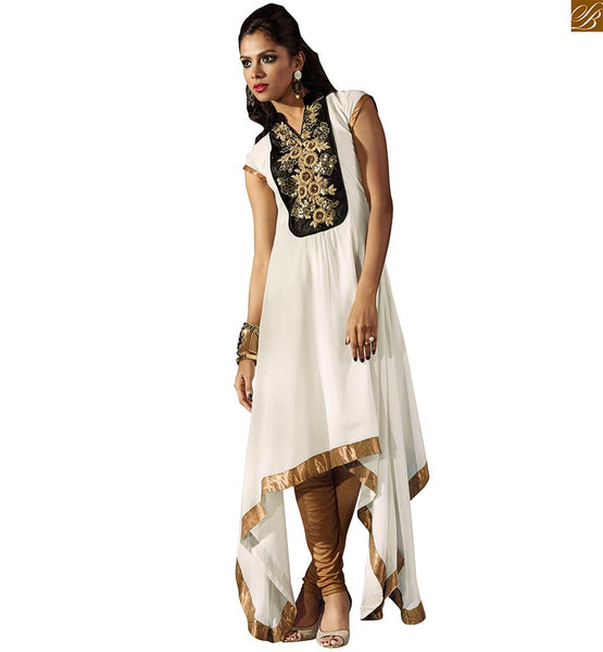 Pakistani designer kurtis with different cuts fashion with style off-white faux-georgette tail cut pattern kurti with border work and embroidery work on upper part Image