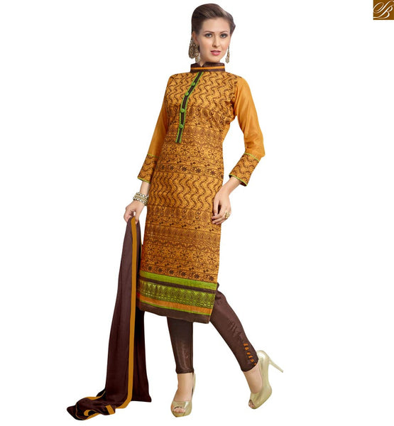 Pale yellow colored casual chanderi straight suit yellow chanderi thee fourth type sleeves casual wear salwar kameez with floral embroidered patch work Image