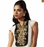 Off-white faux-georgette tail cut pattern kurti with border work and embroidery work on upper part Photo