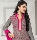 GOOD-LOOKING-GREY-JUTE-COTTON-TOP-WITH-PINK-BOTTOM-AND-ELEGANT-CHIFFON-DUPATTA-LONG-SHERWANI-STYLE-TOP-TO-PAIR-WITH-EITHER-A-SALWAR-AND-A-LEHENGA