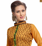This dress at lovely looking brown color floral embroidery work Image
