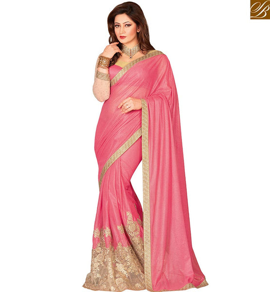 STYLISH BAZAAR FETCHING DESIGNER PINK COLORED LYCRA NET ART SILK SAREE VDEXT10600