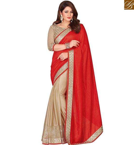 STYLISH BAZAAR CHERUBIC RED CHERRY SILK HALF & HALF SAREE WITH SPLENDID BORDER DESIGN VDEXT10604