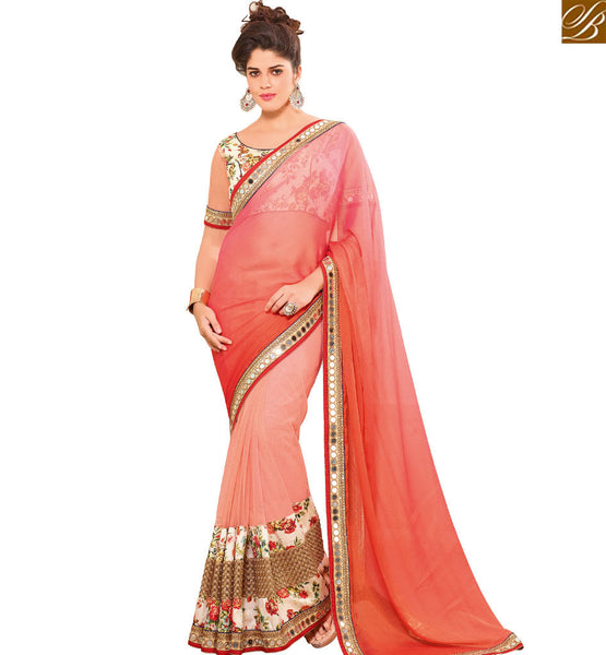 STYLISH BAZAAR DEMURE PINK & MULTI COLORED CHIFFON HALF & HALF SAREE WITH GLITTERY WORK VDEXT10605