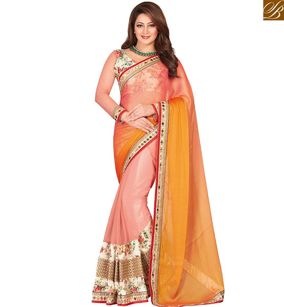 STYLISH BAZAAR CHARMING MUSTARD & MULTI COLORED CHIFFON HALF & HALF SAREE WITH GLITTERING WORK VDEXT10607