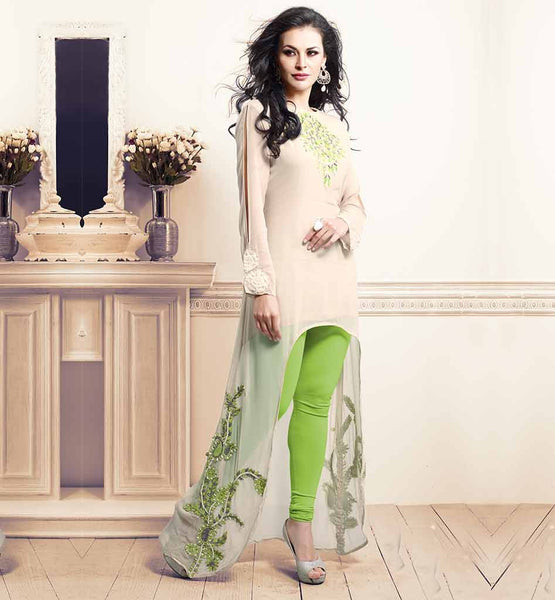 ETERNAL FANCY DESIGNER EMBROIDERED KURTI TO WEAR WITH LEGGINGS | MATCHLESS CREAM BAMBERG GEORGETTE DESIGNER KURTI WITH EMBROIDERY WORK