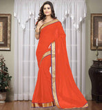ONLINE SHOPPING CHIFFON CASUAL SAREE LATEST DESIGN 2015 PLAIN ORANGE CASUAL WEAR CHIFFON SARI WITH BLOUSE PIECE