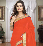 PLAIN ORANGE CASUAL WEAR CHIFFON SARI WITH BLOUSE PIECE BEAUTIFUL SINGLE COLOR COMBINATION CHIFFON SARI THAT YOU CAN WEAR IN CASUALLY