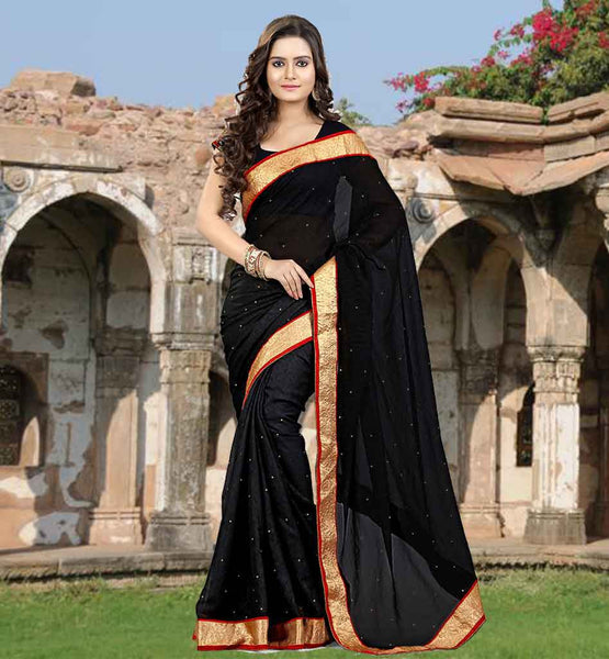 CHIFFON SAREE BLOUSE DESIGNS BUY ONLINE IN INDIA STONE WORK SARI  WITH RICH LACE BORDER