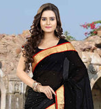 STONE WORK SARI  WITH RICH LACE BORDER LOVELY DESIGNER BLACK SARI WITH MATCHING CHOLI
