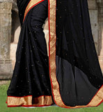 LOVELY DESIGNER BLACK SARI WITH MATCHING CHOLI CHIFFON SAREE BLOUSE DESIGNS BUY ONLINE IN INDIA