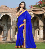 SAREE BLOUSE DESIGNS 2015 SHOP AT BEST PRICE TRENDY BLUE DAILY WEAR SARI WITH SAME COLOR BLOUSE
