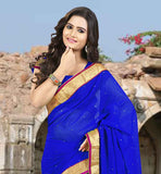 TRENDY BLUE DAILY WEAR SARI WITH SAME COLOR BLOUSE COMFORTABLE AND FANCY LOOK CHIFFON SADI WITH CHOLI