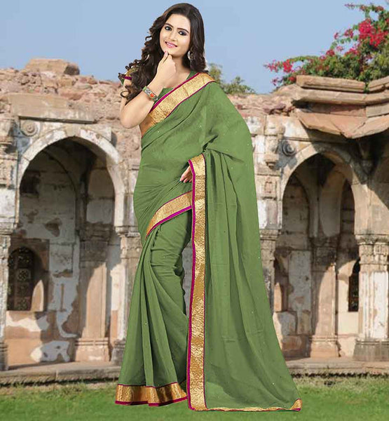 SAREE DRESS UP GAMES CLOTHING FOR OFFICE WEAR TRENDY MEHENDI GREEN SARI WITH SAME COLOR BLOUSE