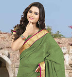 TRENDY MEHENDI GREEN SARI WITH SAME COLOR BLOUSE DESIGNER LACE BORDER CHIFFON SARI WITH CHOLI FABRIC