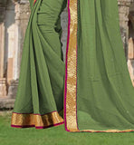 DESIGNER LACE BORDER CHIFFON SARI WITH CHOLI FABRIC  SAREE DRESS UP GAMES CLOTHING FOR OFFICE WEAR