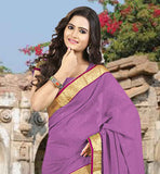 STYLISH PINK STONE WORK SAADI WITH LACE BORDER AWESOME CHIFFON FABRIC SARI WITH MATCHING BLOUSE