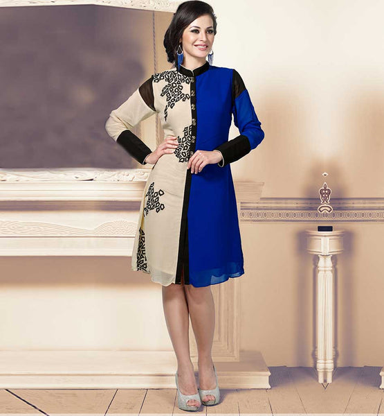 CHINESE COLLAR EMBROIDERED DUAL COLOR BAMBERG GEORGETTE KURTI TOP