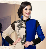 DAZZLING DUAL COLOR KURTI WITH CHINESE COLLAR AND EMBROIDERY WORK