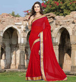 DESIGNER SAREE BLOUSE DESIGNS FOR DAILY WEAR RAVISHING RED STONE WORK SAADI WITH LACE BORDER