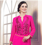 STUNNING PARTY WEAR PINK GEORGETTE KURTI WITH STONE WORK