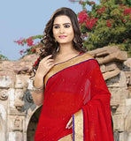 RAVISHING RED STONE WORK SAADI WITH LACE BORDER  SUPERB CHIFFON SAREE WITH JACKET FOR CASUAL WEAR