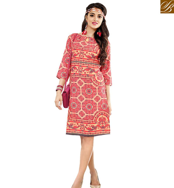 STYLISH BAZAAR STUNNING PINK COLORED FLORAL PRINTED COTTON KURTI VDFRY10675