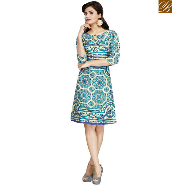 STYLISH BAZAAR SPLENDID BLUE COLORED FLORAL PRINTED COTTON KURTI VDFRY10676
