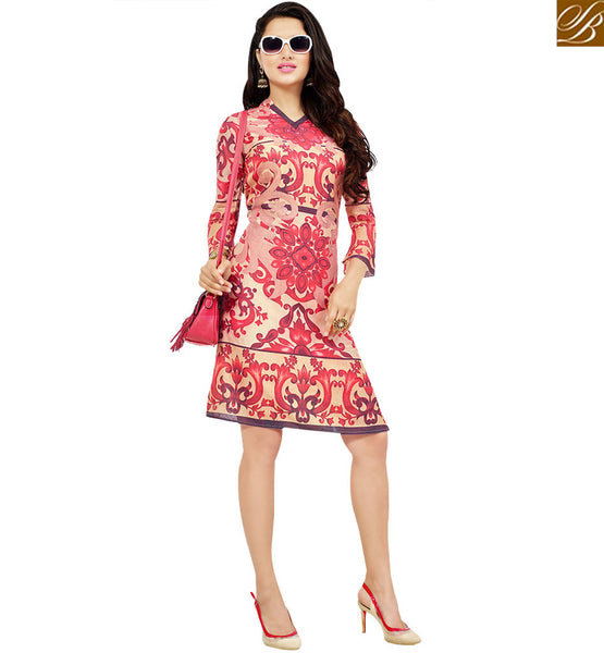 STYLISH BAZAAR LAVISH BEIGE COLORED FLORAL PRINTED COTTON KURTI VDFRY10677