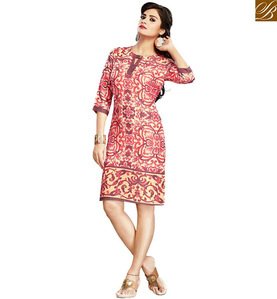 STYLISH BAZAAR GORGEOUS PINK AND BEIGE COLORED FLORAL PRINTED COTTON KURTI VDFRY10679