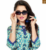 STYLISH BAZAAR PRESENTS STRIKING BLUE AND CREAM COLORED FLORAL PRINTED COTTON KURTI VDFRY10680