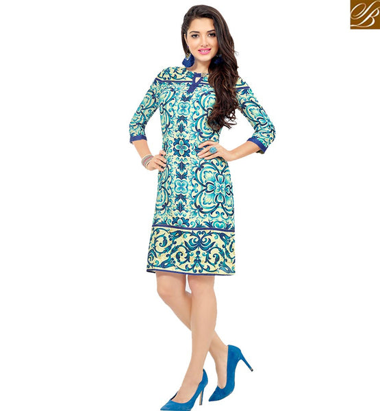 STYLISH BAZAAR STRIKING BLUE AND CREAM COLORED FLORAL PRINTED COTTON KURTI VDFRY10680