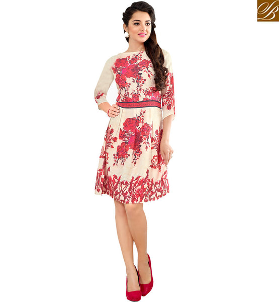 STYLISH BAZAAR LOVELY CREAM & RED COLORED FLORAL PRINTED COTTON KURTI VDFRY10681