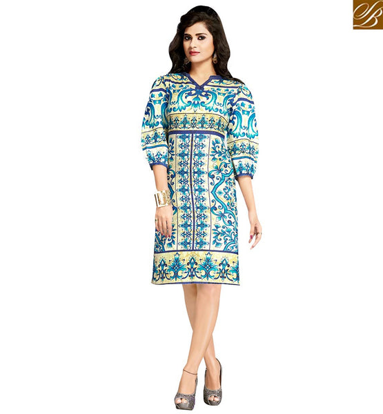 STYLISH BAZAAR ATTRACTIVE CREAM & BLUE COLORED FLORAL PRINTED COTTON KURTI VDFRY10683