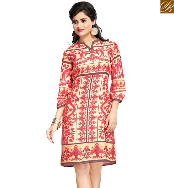 STYLISH BAZAAR CHARMING BEIGE & RED COLORED FLORAL PRINTED COTTON KURTI VDFRY10684