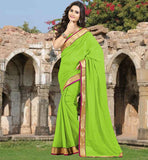 SIMPLE SARI BLOUSE DESIGNS WITH LACE BORDER SAREE DECORATED WITH STONE WORK ALL OVER THE FABRIC