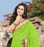 SAREE DECORATED WITH STONE WORK ALL OVER THE FABRIC FIRST RATE PARROT GREEN CHIFFON SAREE WITH MATCHING BLOUSE PIECE