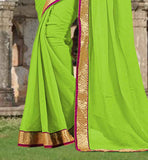FIRST RATE PARROT GREEN CHIFFON SAREE WITH MATCHING BLOUSE PIECE  SIMPLE SARI BLOUSE DESIGNS WITH LACE BORDER