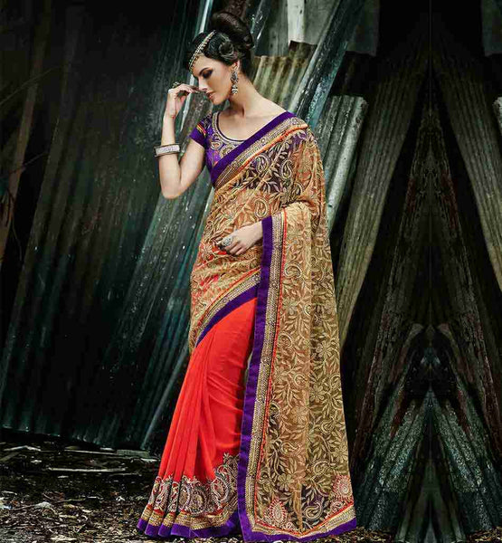 BLOUSE DESIGNS BACK SIDE WORK OF LATEST DESIGNER SAREES FOR SLIM LOOK | STYLISH ORANGE AND BEIGE WEDDING SARI WITH DESIGNER BLOUSE DESIGNS