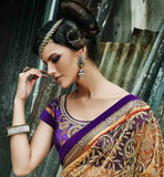 STYLISH BAZAAR ORANGE AND BEIGE WEDDING SARI WITH BLOUSE