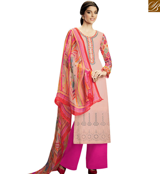 STYLISH BAZAAR GLAMOROUS LIGHT PINK TOP AND PLAZZO BOTTOM WITH MULTI COLOR DUPATTA KMV106