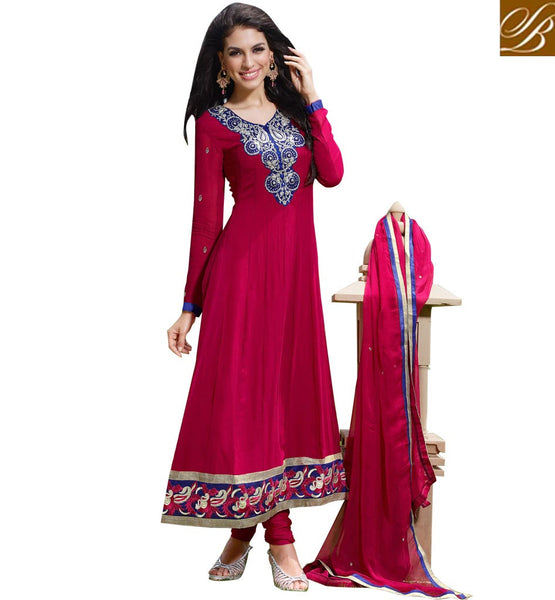 EYE-CATCHING PINK GEORGETTE HANDWORK ANARKALI SALWAR WITH DUPATTA ANEIS106