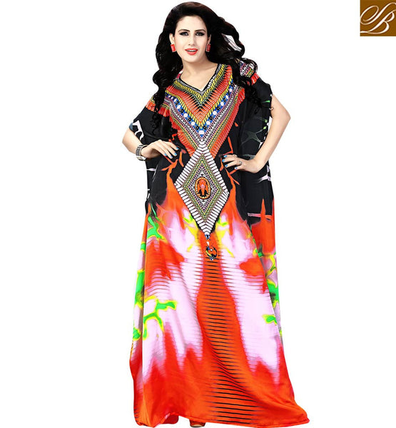 BROUGHT TO YOU BY STYLISH BAZAAR NOTEWORTHY PARTY WEAR DIGITAL PRINTED KAFTAN DESIGN SKKF1014