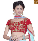 SUPERB SKY-BLUE LEHENGA WITH RED VELVET CHOLI AND DUPATTA
