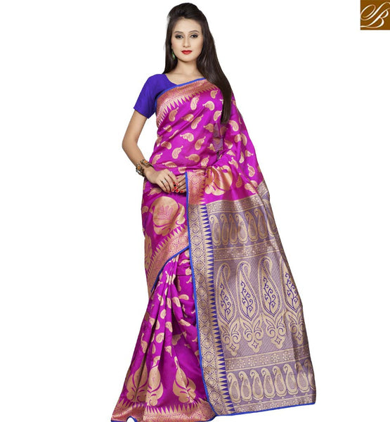 STYLISH BAZAAR AMAZING PINK DESIGNER SAREE WITH BLUE BLOUSE VDBNS10705